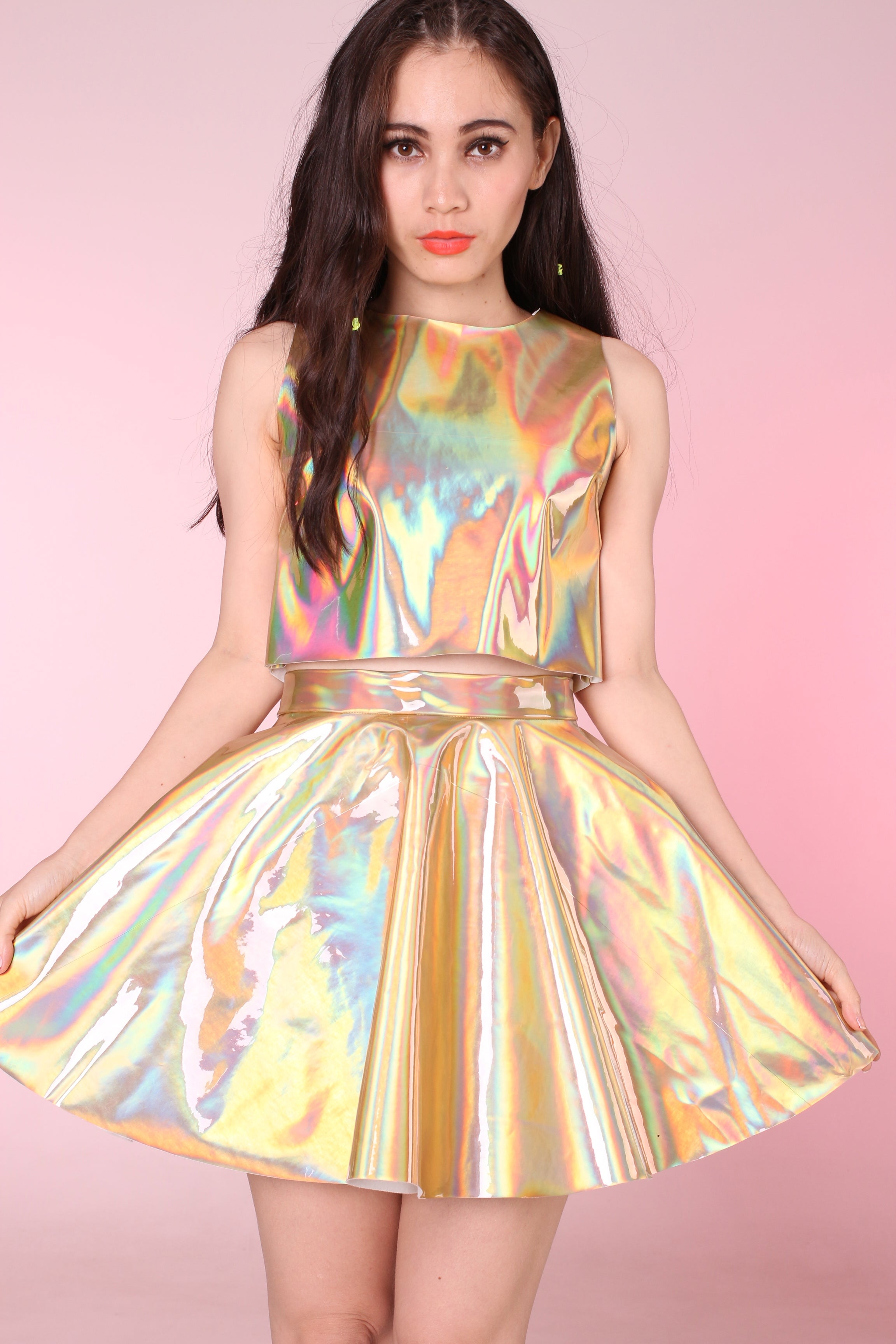 Made To Order Daniela Pvc Set In Gold Holographic