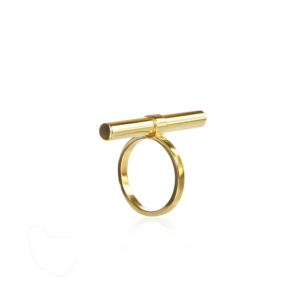 Image of Tube based ring in 18 carat gold