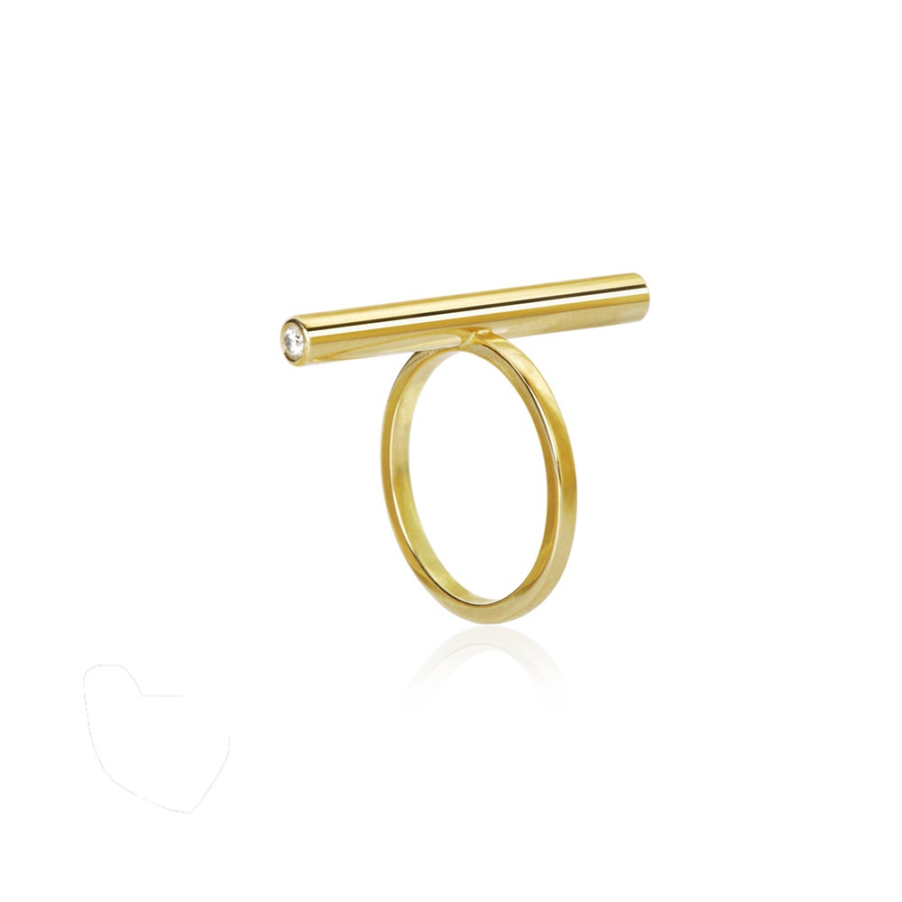 Image of Diagonal ring in 18 carat gold