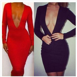 Image of Sexy deep V Package hip stretch cultivate one's morality dress high quality fabric