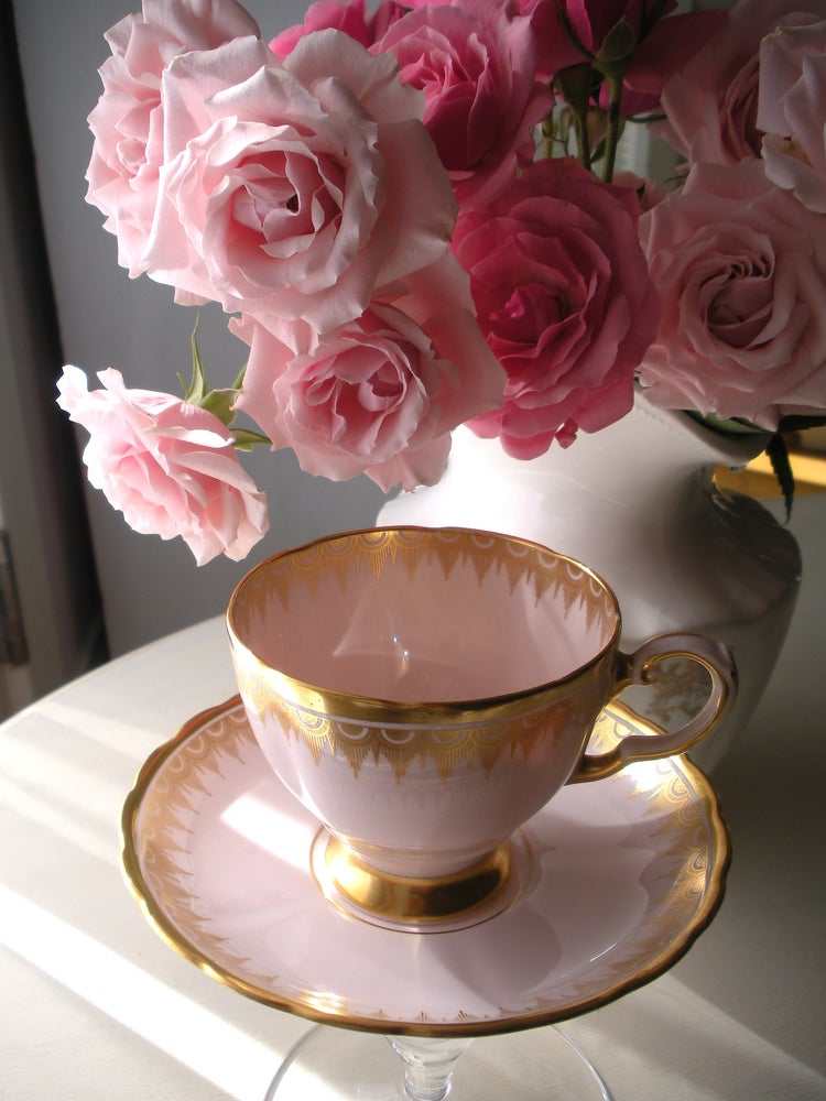 Image of Pink Tea Cup and Saucer