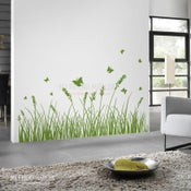 Image of Vinyl Wall Sticker Decal Art - Grass with Butterflies