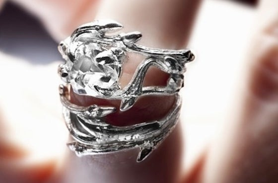 Image of Light Elvish Rings<br>Silver Stacking Pair