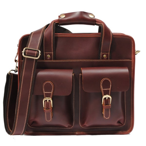 "Image of Handmade Leather Briefcase / Messenger Satchel / 11"" MacBook Air or 12"" Laptop Bag (n07s)"