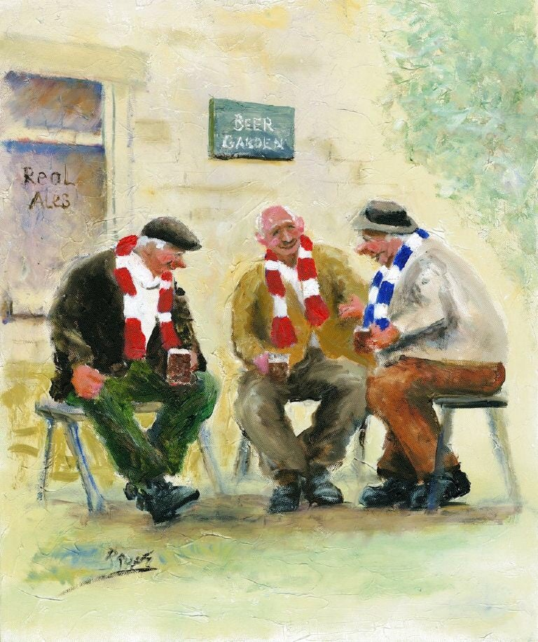 Image of 'In The Beer Garden' Mounted Print