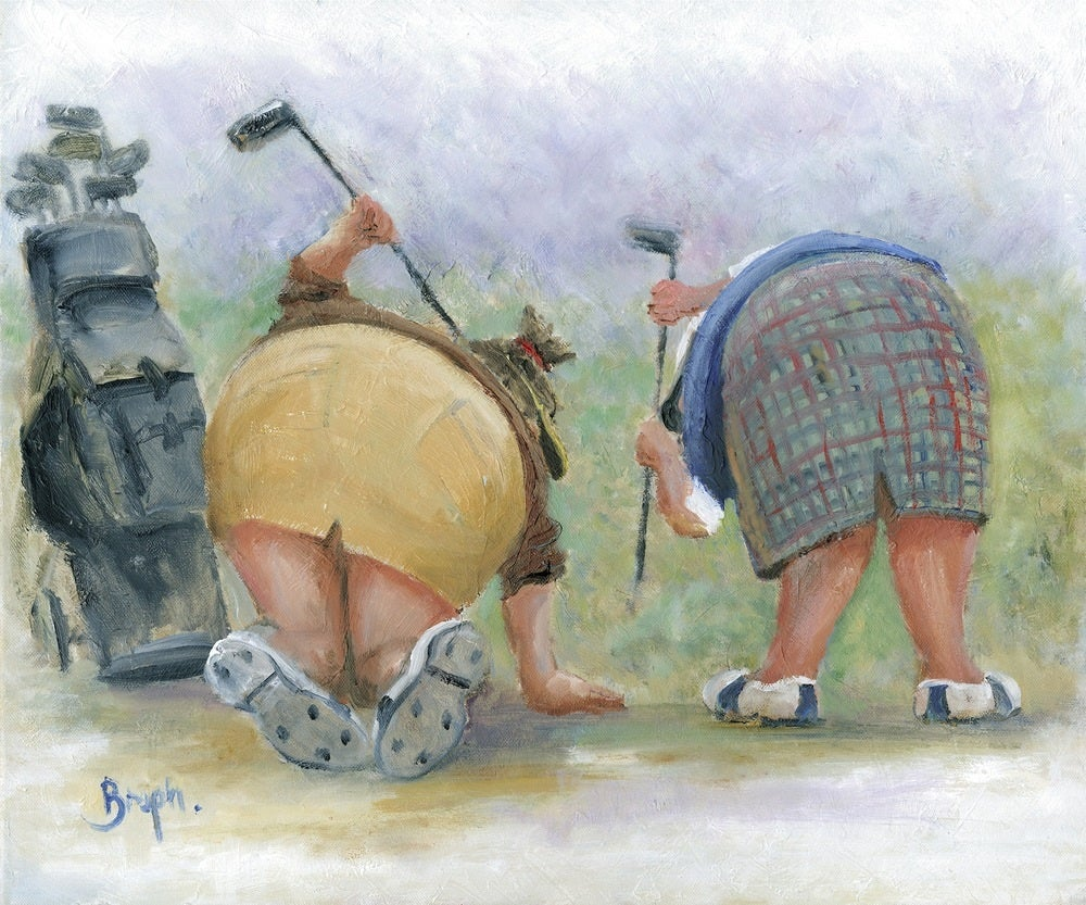 Image of 'Golfing Gals' Mounted Print