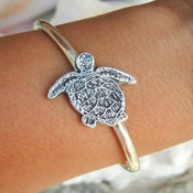 Image of Sea Turtle Jewelry, Silver Sea Turtle Bracelet, Sterling Silver Sea Turtle Cuff Bracelet