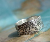 Image of Nautical Gift, Nautical Silver Ring, Ocean Waves Jewelry Gift for Women and Men
