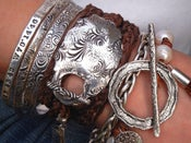 Image of Hippie Jewelry, Stacked Leather Wrap Bracelet, Boho Jewelry, Sterling Silver Wrap Bracelet
