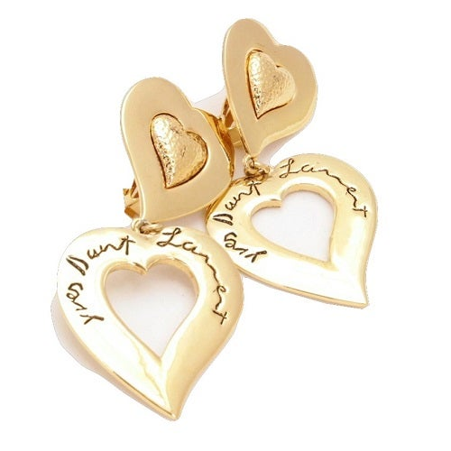 Image of SOLD OUT Vintage 1980's YSL Massive Drop Heart Gold Heart Earrings