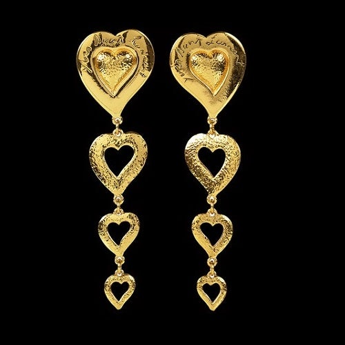 Image of SOLD OUT Yves St Laurent Long Heart Earrings