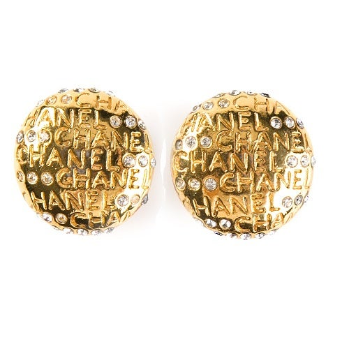Image of SOLD OUT Chanel Embellished Authentic Logo Earrings