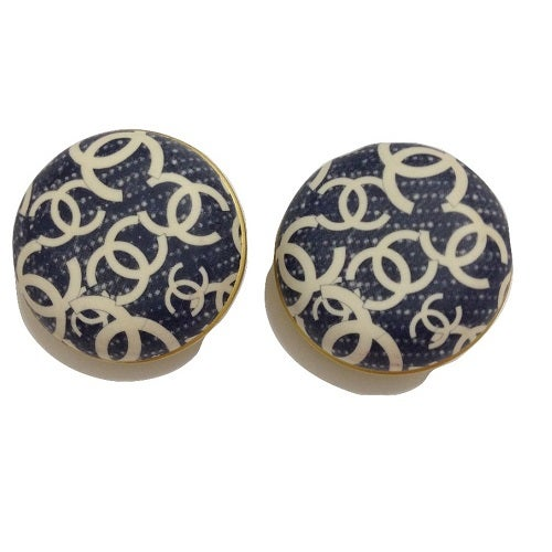 Image of SOLD OUT Chanel Blue and White CC Logo 2008 Clip On Earrings