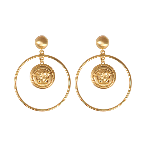 Image of SOLD OUT Authentic Versace Vanitas Medusa Large Logo Hoop Earrings