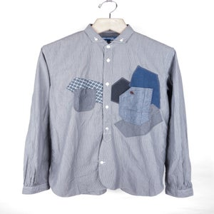 Image of Junya Watanabe MAN - Fine Hickory Stripe Patched Button Down Shirt