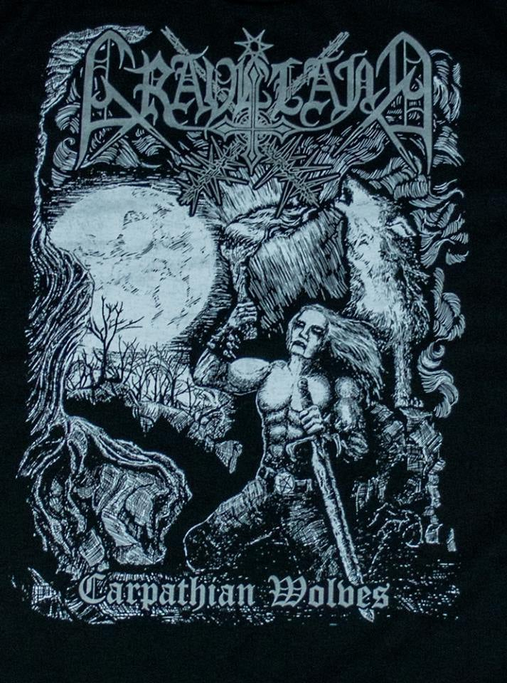 "Image of Graveland ""Carpathian Wolves"" TS - SILVER logo version"