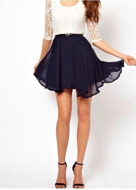 Image of LACE CHIFFON DRESS