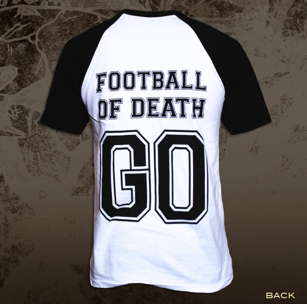 Image of 'Football of Death' Baseball Tee