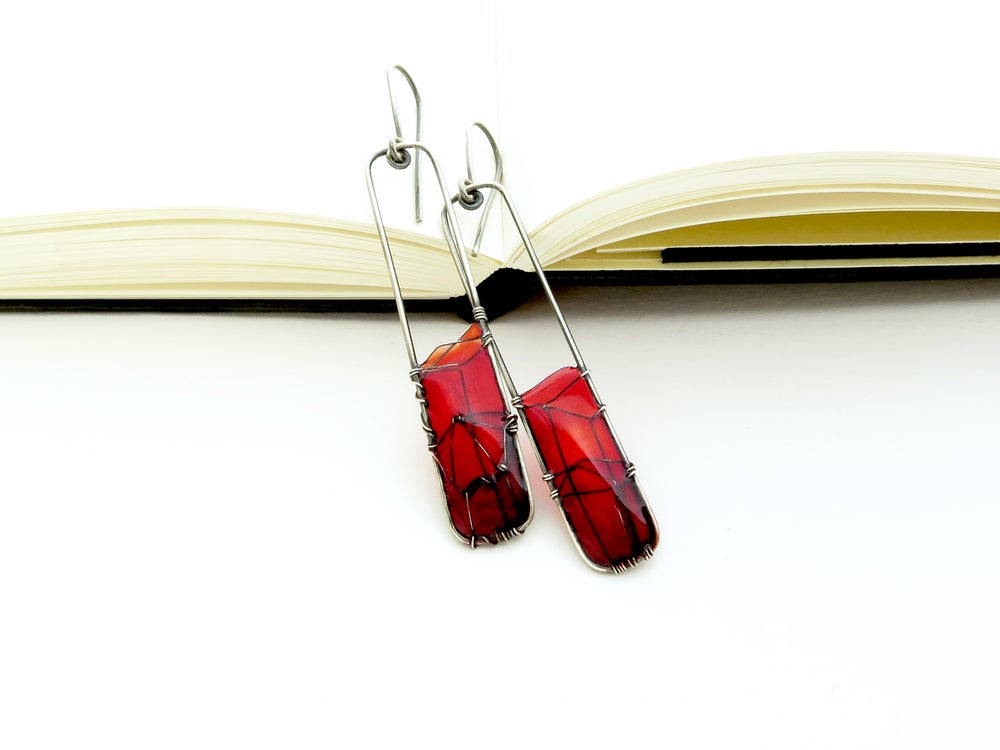 Image of Silver Earrings Red City