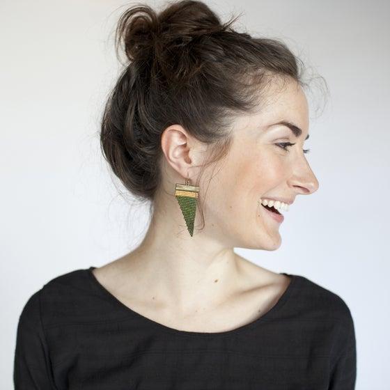Image of Wood Fern // Loom-beaded Earrings