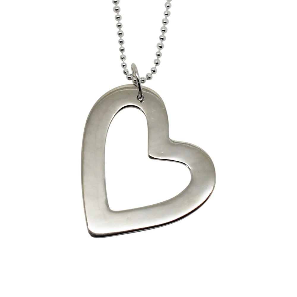 Image of Large Heart Sterling Silver Necklace