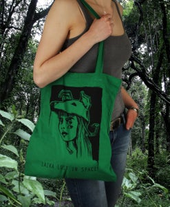 Image of (SOLD OUT) Laika lost in Space - Bag (Black Print on Green)