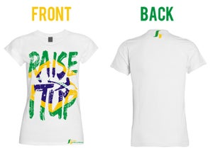 Image of Raise It Up Soccer T-Shirt (Ladies Cut)