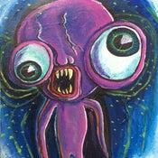"Image of ""Alien Sloth"" Original Painting 11x14"