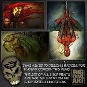Image of Phoenix Comicon Badge Art Designs
