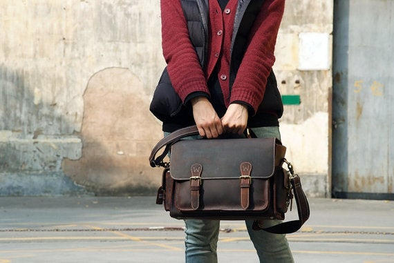 Image of Genuine Leather DSLR Camera Bag Leather Briefcase Messenger Bag 6919