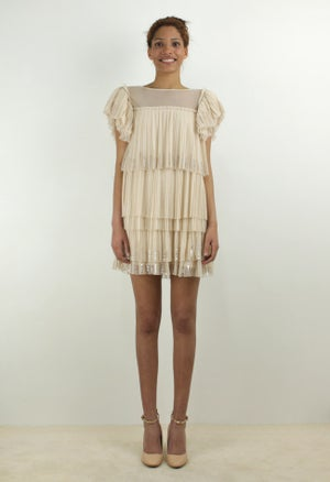 Image of PLEATED TULLE MINI DRESS