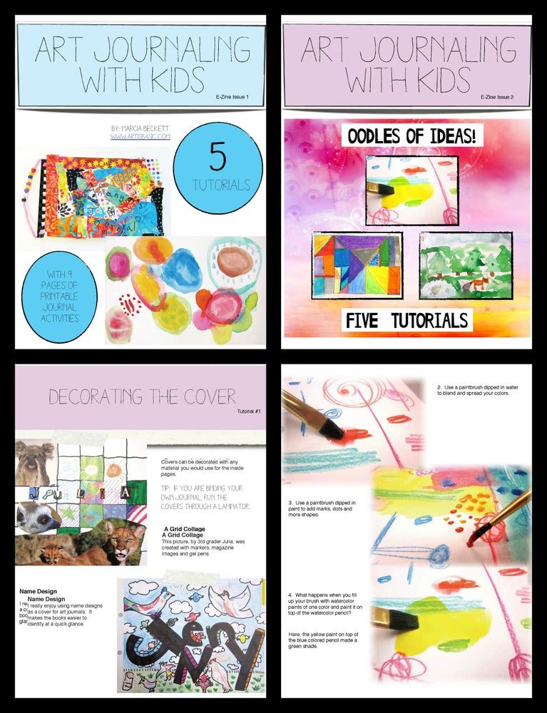 Image of Art Journaling with Kids E-Zine #1 ($6.50) and #2 ($6.00) or $10 for both