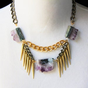 Image of Raw Druzy Amethyst Spike Collar Statement Necklace, SA499