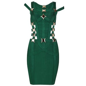Image of Emerald Forest Green Gold Buckle Cut Out Bandage Dress