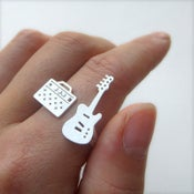 Image of Guitar ring for musician rock band -Handmade Silver Rings