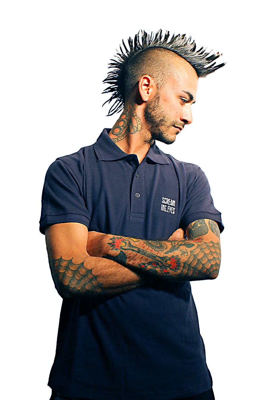 Image of Screaming Eyes Blue Navy Polo
