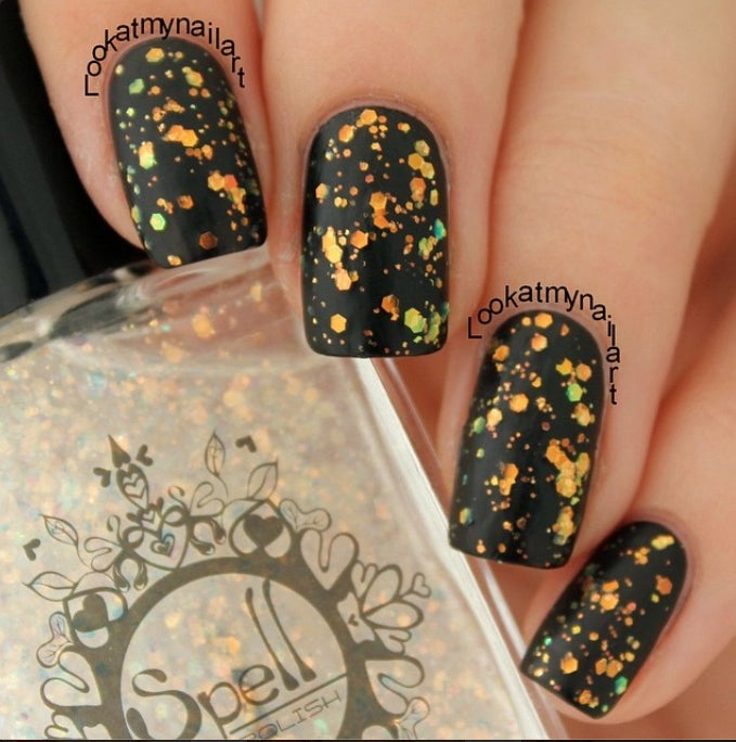 Image of SPELL POLISH ~Light as a Feather~ opalescent orange glitter nail polish!