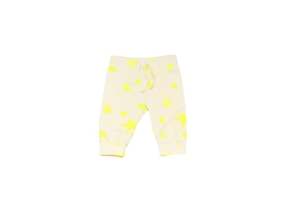 Image of Pantalon jogger bébé garçon Noé & Zoé à étoiles jaunes fluo