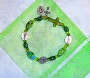 Image of Cross and Word Rosary Bracelet (Green, Purple)