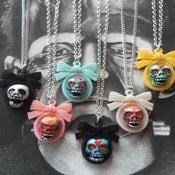 Image of Day of the Dead Dias Los Muertos Sugar Skull Cameo Rockabilly Tattoo Necklaces-6 to choose from