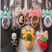 Image of Skull, Flamingo, Skeleton Lady, Pineapple, Strawberry, Bird, Unicorn Cameo Necklaces