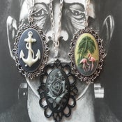 Image of Choice of 3 large cameo necklaces - Flamingo, Black & Grey Rose and Navy Blue Anchor