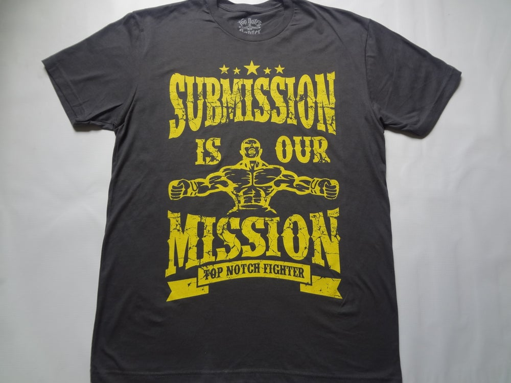 Image of Submission is our Mission-Charcoal Gray shirt with Epic Yellow