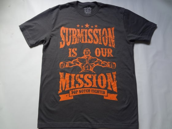 Image of Submission is our Mission-Charcoal Gray shirt with Epic Orange