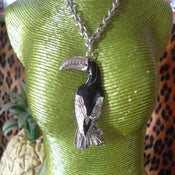 Image of Terrific Toucan Large Metal Pendant Necklace on Thick Necklace Chain