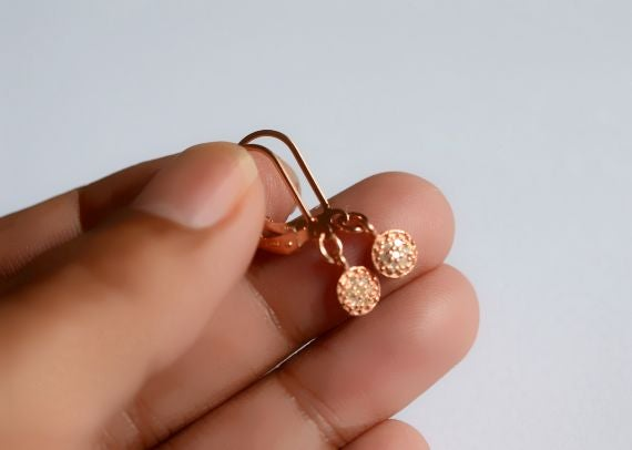Image of Rose gold pave diamond earrings