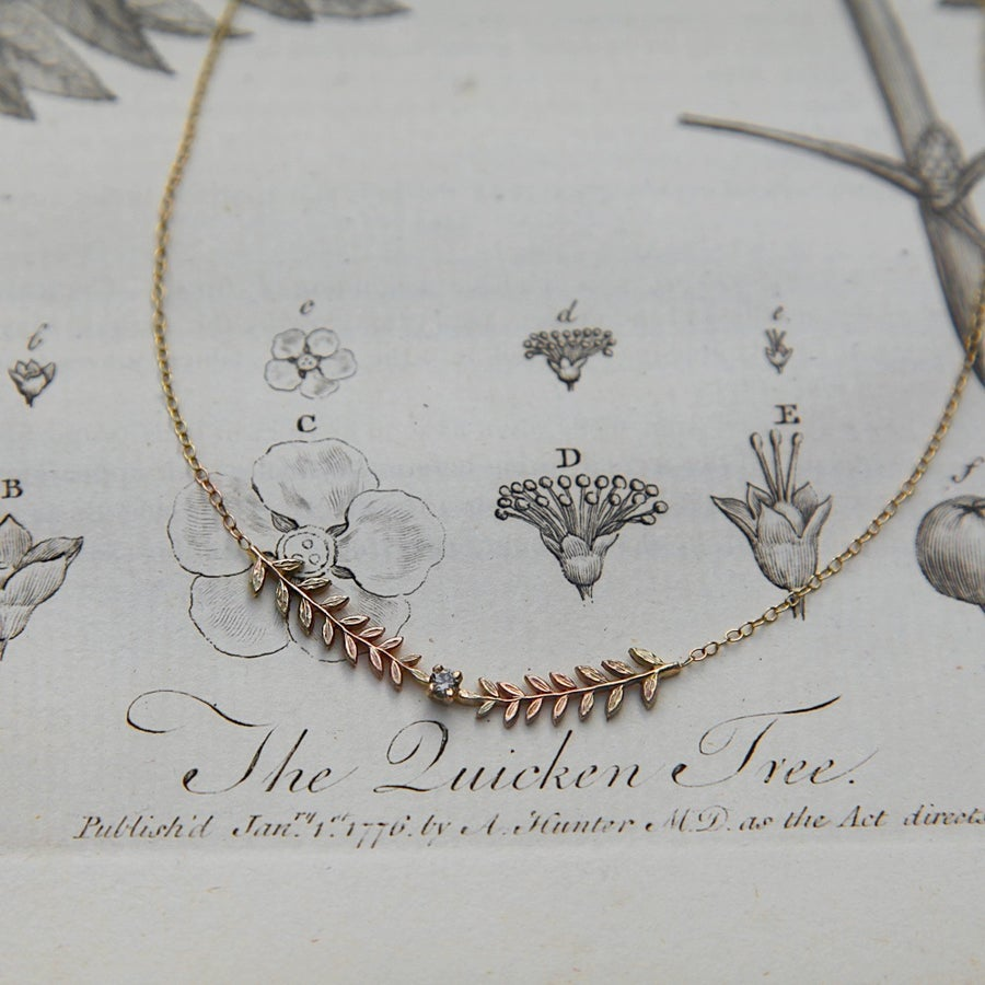 Image of double fern leaf & champagne diamond necklace