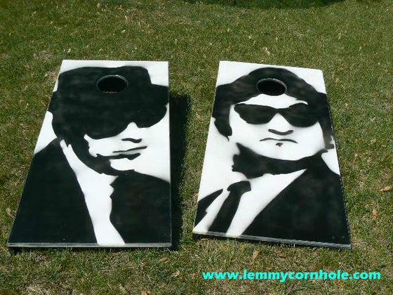 Image of Cornhole Boards, Set of Two (2) - Blues Brothers-inspired, premium maple tops!