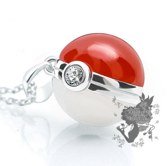 Image of Unique Pokemon Pokeball Agate Gemstone .925 Sterling Silver Necklace Costume Cosplay