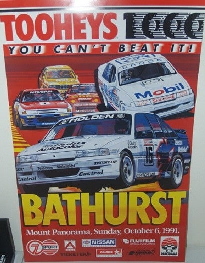 Image of 1991 Bathurst 1000 poster. HRT wins.